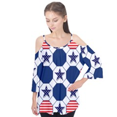 Patriotic Symbolic Red White Blue Flutter Tees
