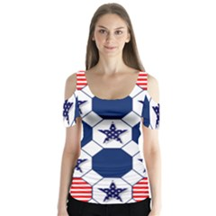 Patriotic Symbolic Red White Blue Butterfly Sleeve Cutout Tee
