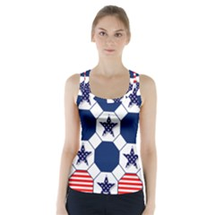 Patriotic Symbolic Red White Blue Racer Back Sports Top