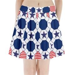 Patriotic Symbolic Red White Blue Pleated Mini Skirt