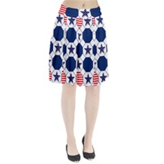 Patriotic Symbolic Red White Blue Pleated Skirt