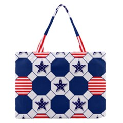 Patriotic Symbolic Red White Blue Medium Zipper Tote Bag