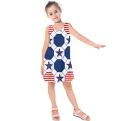 Patriotic Symbolic Red White Blue Kids  Sleeveless Dress