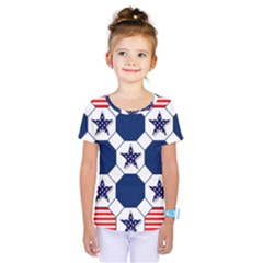 Patriotic Symbolic Red White Blue Kids  One Piece Tee