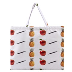 Ppap Pen Pineapple Apple Pen Zipper Large Tote Bag