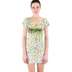Confetti Celebration Party Colorful Short Sleeve Bodycon Dress