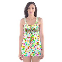 Confetti Celebration Party Colorful Skater Dress Swimsuit