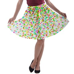 Confetti Celebration Party Colorful A-line Skater Skirt