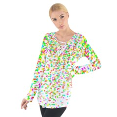 Confetti Celebration Party Colorful Women s Tie Up Tee