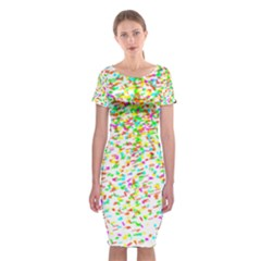 Confetti Celebration Party Colorful Classic Short Sleeve Midi Dress