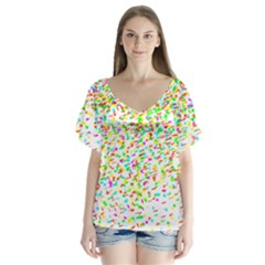 Confetti Celebration Party Colorful Flutter Sleeve Top