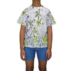 Floral Pattern Background Kids  Short Sleeve Swimwear