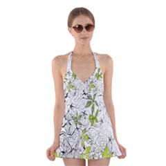 Floral Pattern Background Halter Swimsuit Dress
