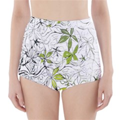 Floral Pattern Background High-Waisted Bikini Bottoms