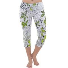 Floral Pattern Background Capri Yoga Leggings