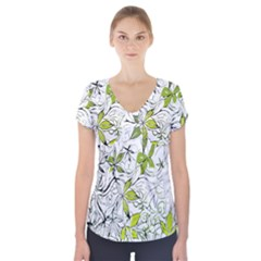 Floral Pattern Background Short Sleeve Front Detail Top
