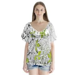 Floral Pattern Background Flutter Sleeve Top