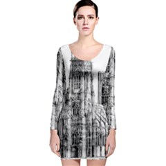 York Cathedral Vector Clipart Long Sleeve Bodycon Dress