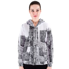 York Cathedral Vector Clipart Women s Zipper Hoodie