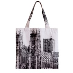 York Cathedral Vector Clipart Zipper Grocery Tote Bag
