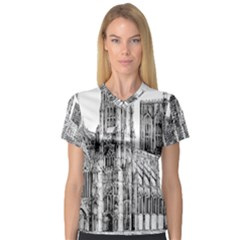 York Cathedral Vector Clipart Women s V-Neck Sport Mesh Tee