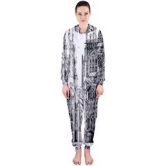 York Cathedral Vector Clipart Hooded Jumpsuit (Ladies)