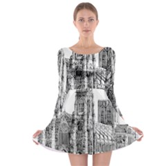 York Cathedral Vector Clipart Long Sleeve Skater Dress