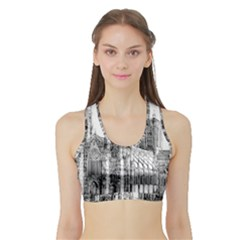 York Cathedral Vector Clipart Sports Bra With Border