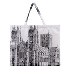 York Cathedral Vector Clipart Zipper Large Tote Bag