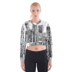 York Cathedral Vector Clipart Women s Cropped Sweatshirt