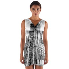 York Cathedral Vector Clipart Wrap Front Bodycon Dress