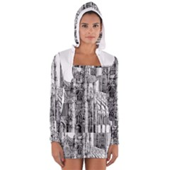York Cathedral Vector Clipart Women s Long Sleeve Hooded T-shirt