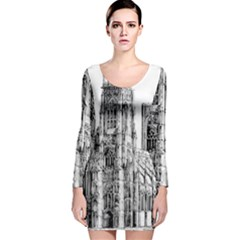 York Cathedral Vector Clipart Long Sleeve Velvet Bodycon Dress