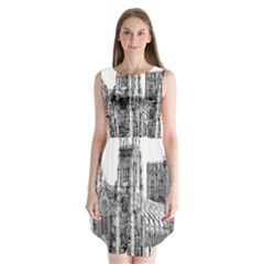 York Cathedral Vector Clipart Sleeveless Chiffon Dress