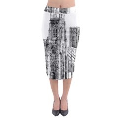 York Cathedral Vector Clipart Midi Pencil Skirt