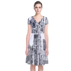 York Cathedral Vector Clipart Short Sleeve Front Wrap Dress