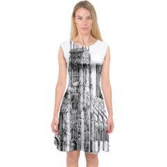 York Cathedral Vector Clipart Capsleeve Midi Dress