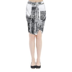 York Cathedral Vector Clipart Midi Wrap Pencil Skirt