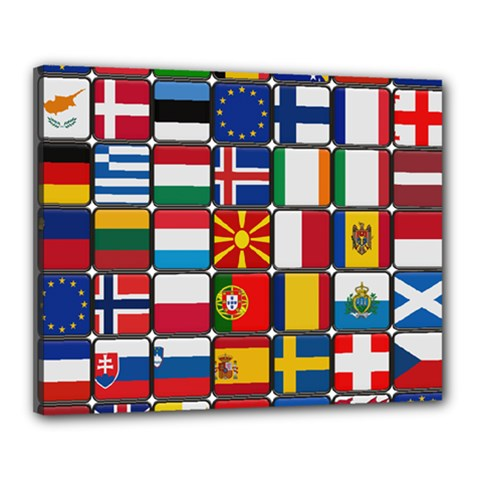 Europe Flag Star Button Blue Canvas 20  x 16