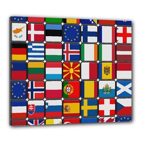Europe Flag Star Button Blue Canvas 24  x 20