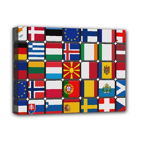 Europe Flag Star Button Blue Deluxe Canvas 16  x 12