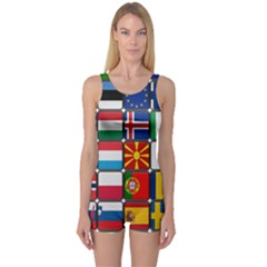 Europe Flag Star Button Blue One Piece Boyleg Swimsuit