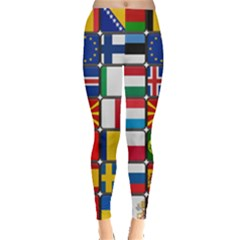Europe Flag Star Button Blue Leggings