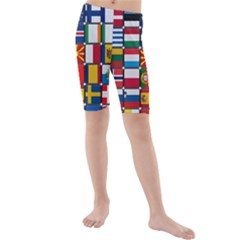 Europe Flag Star Button Blue Kids  Mid Length Swim Shorts
