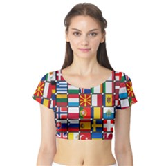 Europe Flag Star Button Blue Short Sleeve Crop Top (Tight Fit)