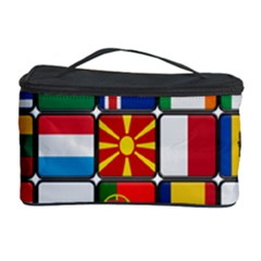 Europe Flag Star Button Blue Cosmetic Storage Case