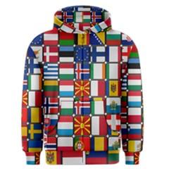 Europe Flag Star Button Blue Men s Zipper Hoodie