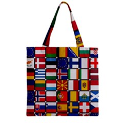 Europe Flag Star Button Blue Zipper Grocery Tote Bag