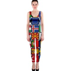 Europe Flag Star Button Blue OnePiece Catsuit