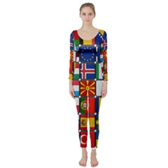 Europe Flag Star Button Blue Long Sleeve Catsuit
